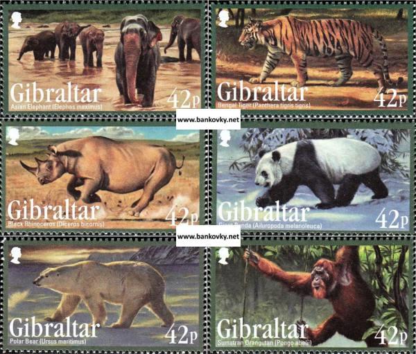 Známky Gibraltar 2011 Ohrozené zvieratá neraz. séria MNH
