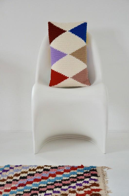 woodwoolstool harlequin pillow & pattern