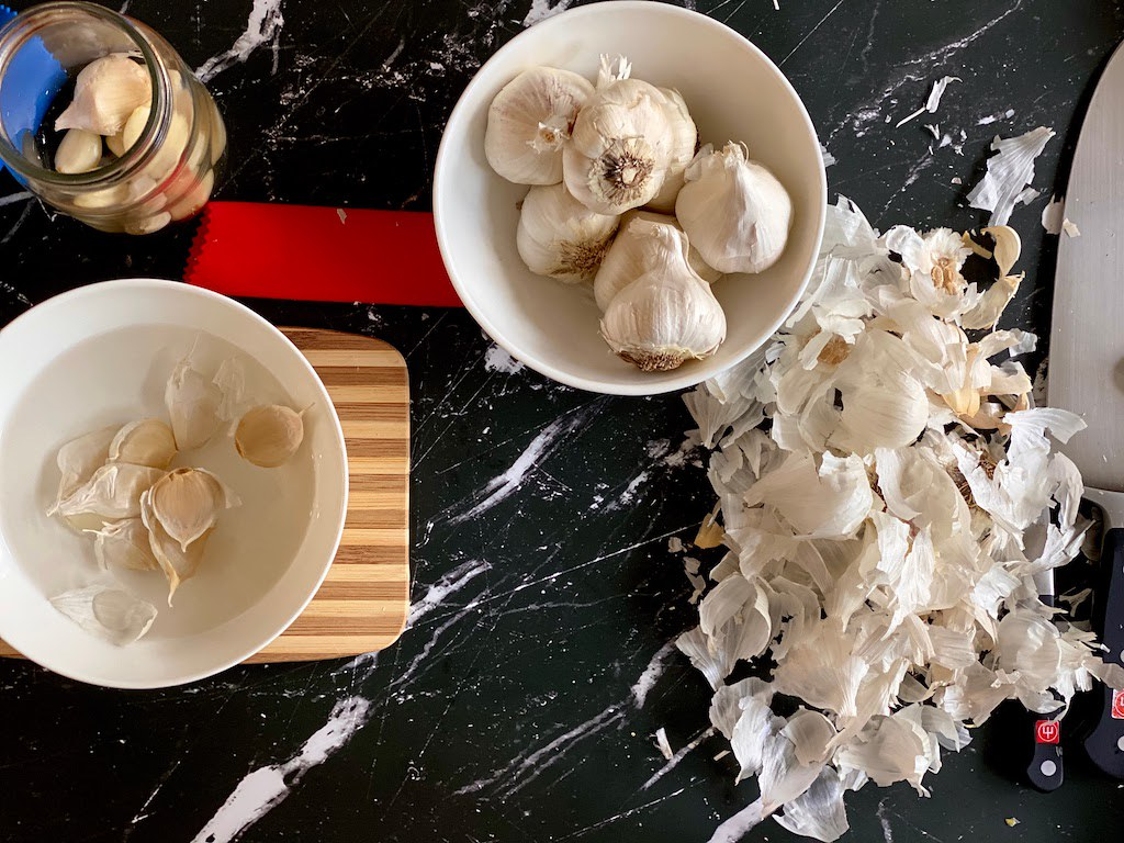 All of the garlic peels from doing the different methods.