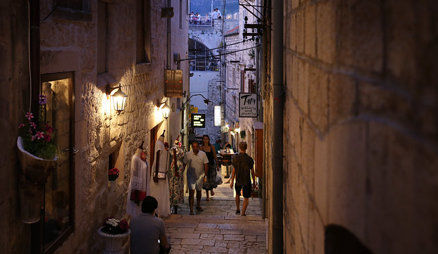 Little shops lining the alleyways of Korčula Old Town