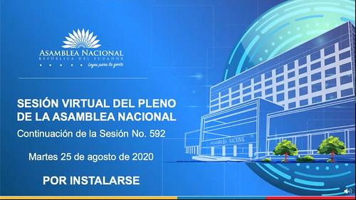 CONTINUACIÓN DE LA SESIÓN NO. 592 DEL PLENO DE LA ASAMBLEA NACIONAL. ECUADOR, 25 DE AGOSTO 2020.