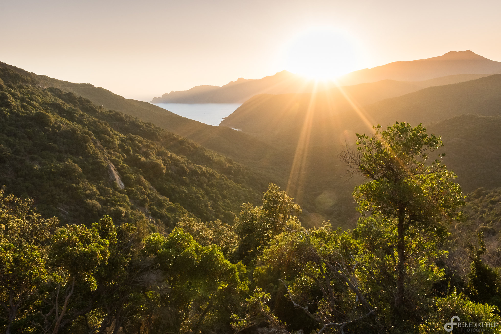 Sunset in the moutains of Corse