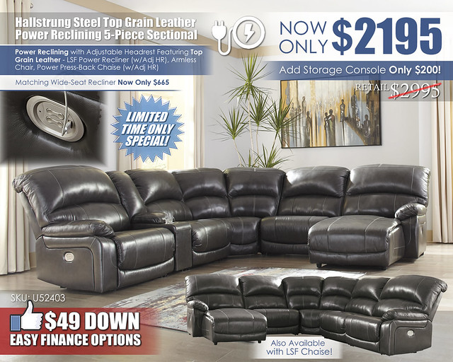 Hallstrung Steel Power Leather Reclining 5 Piece Sectional_U52403-58-57-19-77-46-97-CLSD_New
