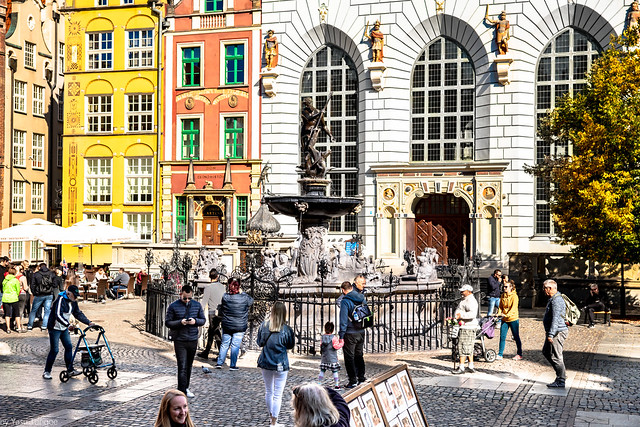 The Artus Court, Neptune Fountain and architecture of Ulica Długa (Long Street) portion of the Royal Route, Gdańsk, Poland.  781a