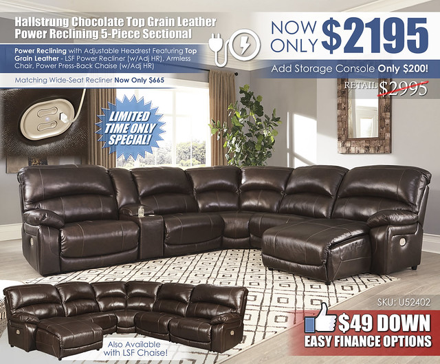 Hallstrung Chocolate 5 Piece Reclining Leather Sectional_U52402-58-57-19-77-46-97_New