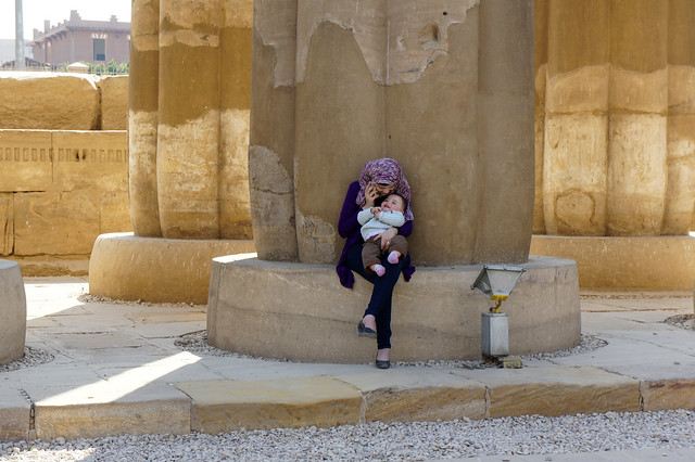 Baby and Mama at Amenhotep III sun court at Egypt's Luxor temple
