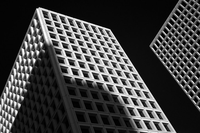 Early evening view of Greenway Plaza 3 & 5 (infrared)