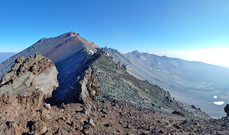 Climbers trail to Diamond Peak