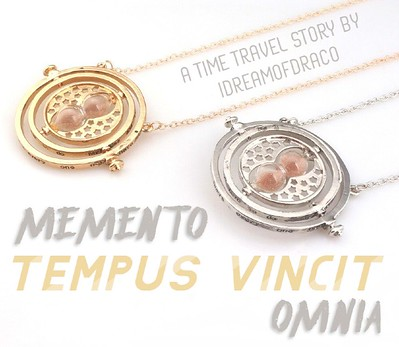 banner for memento tempus vincit omnia by idreamofdraco depicting two time turners along with title of story and author