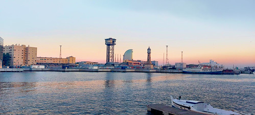 sea mar mare water waterfront seascape port puerto harbour harbor moll ship boat sky cielo skyline skyscape building architecture tower clock w landscape light reflection color colour colores colours colors blue azul blu blau shadow shadows sunsut atardecer barcelona barceloneta outside outdoor