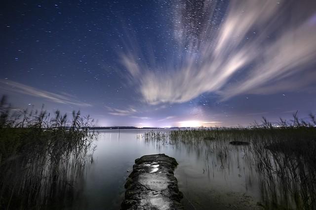 Milky Way behind clouds, Neuchâtel, Switzerland
