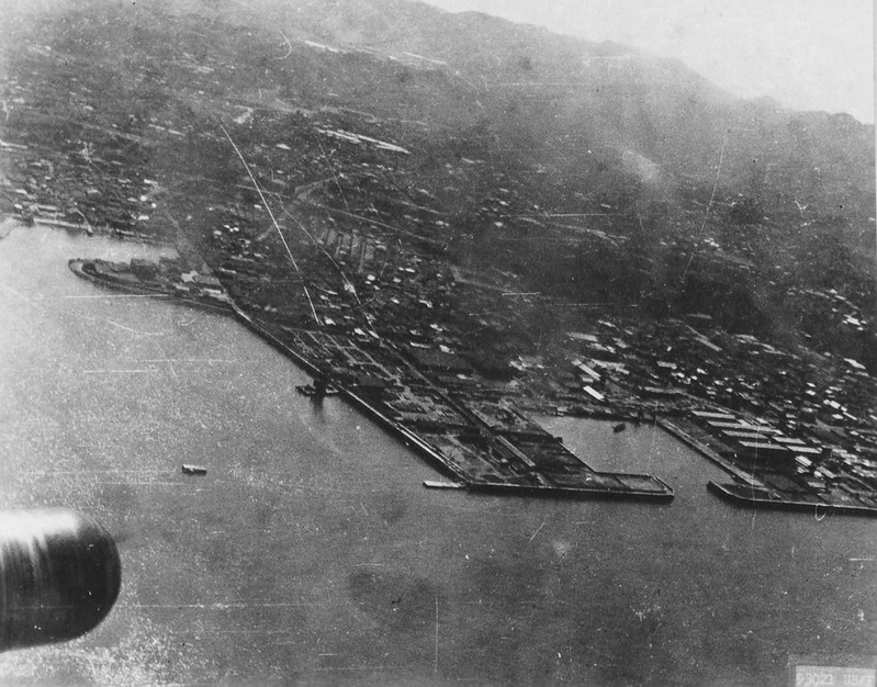 Yokosuka Naval Base seen from a B-25 plane
