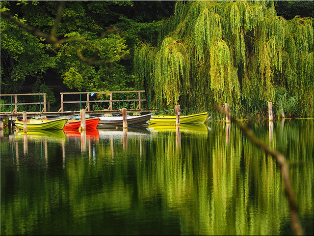 Colorful boats on the Ukleisee