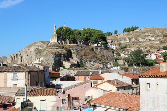 The town below gypsum cliffs, Calatayud, Spain