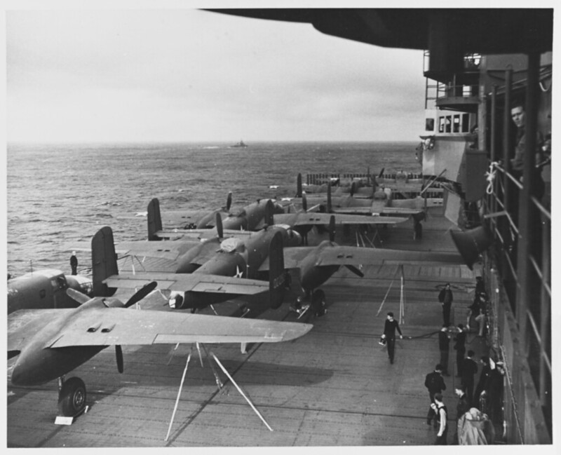 US Army Air Forces B-25B bombers on USS Hornet