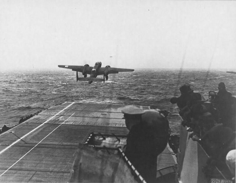 B-25 medium bomber launching