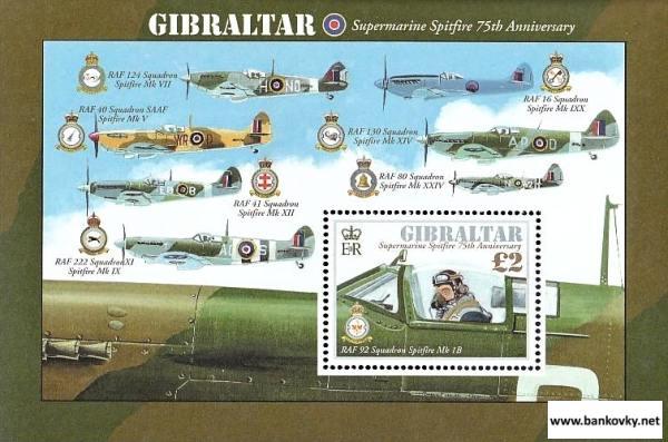 Známky Gibraltar 2011 Spitfire neraz. hárček MNH