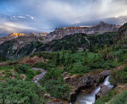 colorado unitedstatesofamerica yankeeboybasin mountains clouds waterfall stream rockymountains mountainside geology sunsetlight ouray mountainstream coloradorockymountains nikond850 kenstravelphotocom