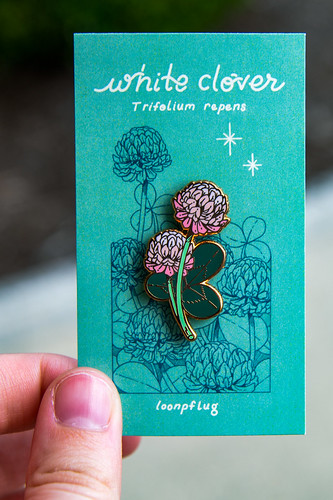 A pin of clover flowers.
