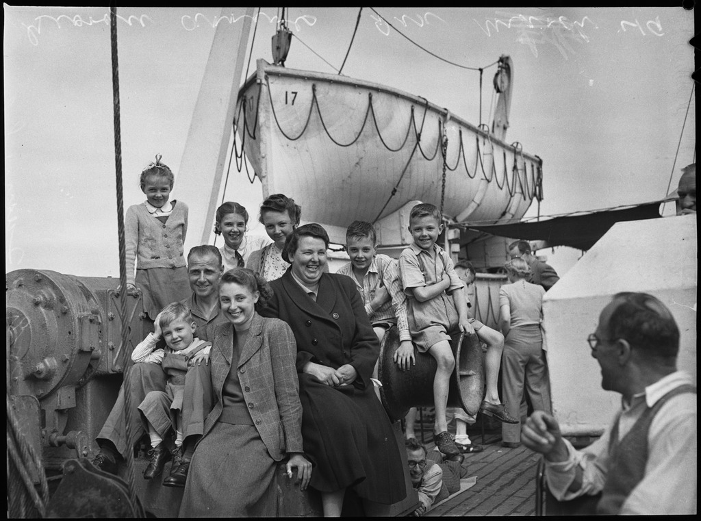 British migrants on the deck of the Georgic, bound for Australia, 1949, Norman Herfort, Pix Magazine