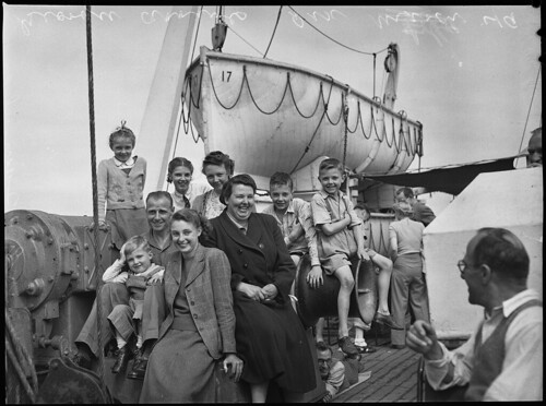 British migrants on the deck of the Georgic, bound for Australia, 1949, Norman Herfort, Pix Magazine | by State Library of New South Wales collection