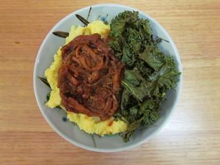 Comforting BBQ Pulled Hearts of Palm, Crispy Kale & Parmesan Polenta