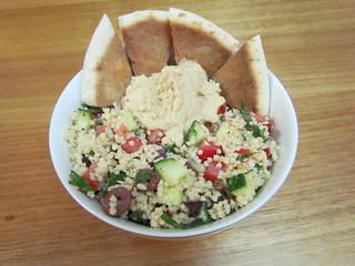 Mediterranean Millet with Lemony Hummus