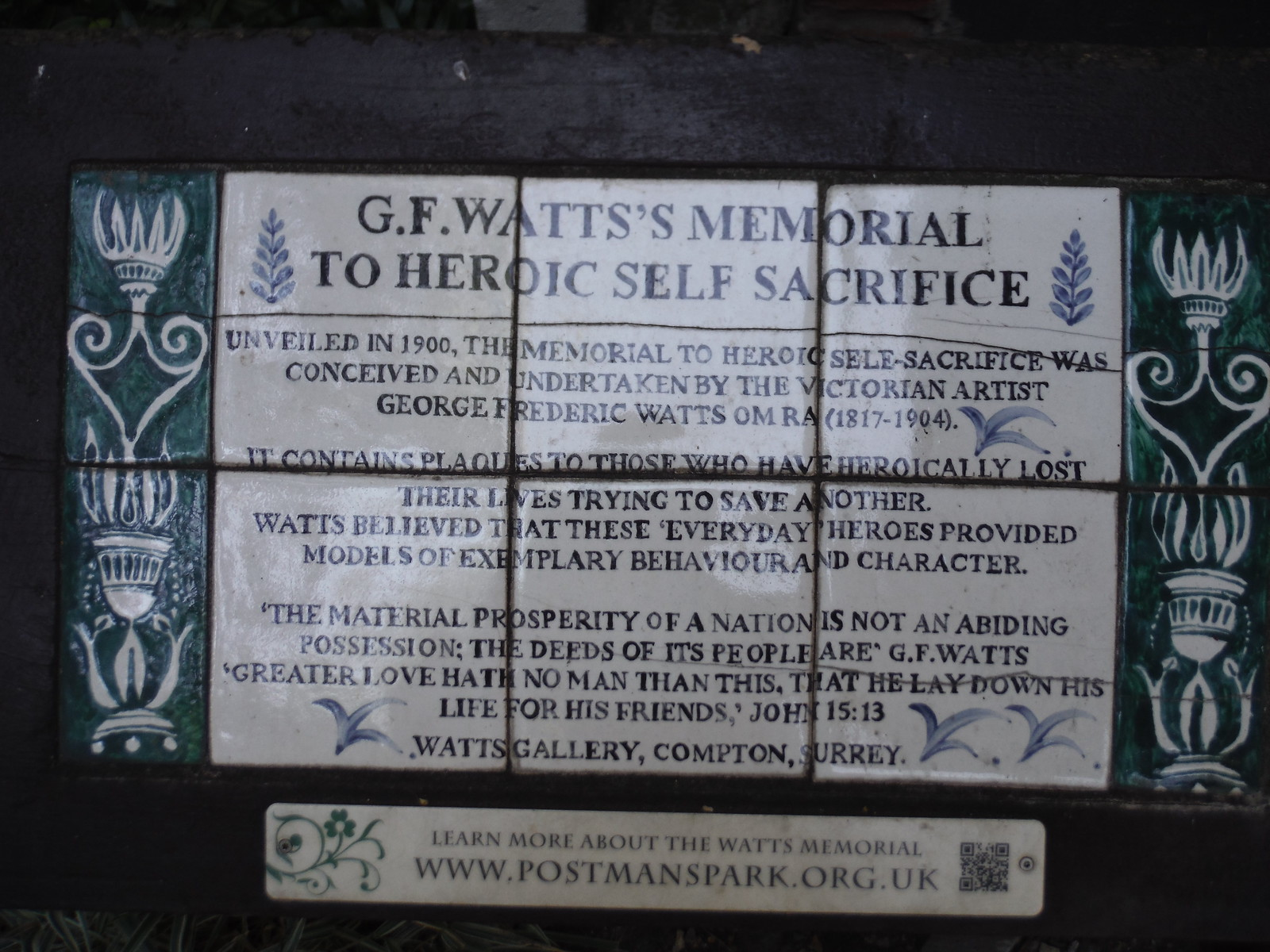 Panel at G.F. Watts' Memorial to Heroic Self Sacrifice, Postman's Park SWC Short Walk 47 - The London Wall