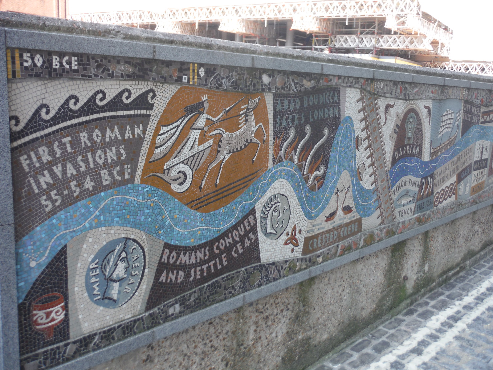 Queenhithe Mosaic (Detail: the Roman Era) SWC Short Walk 47 - The London Wall [Modern Waterfront Circular Walk]