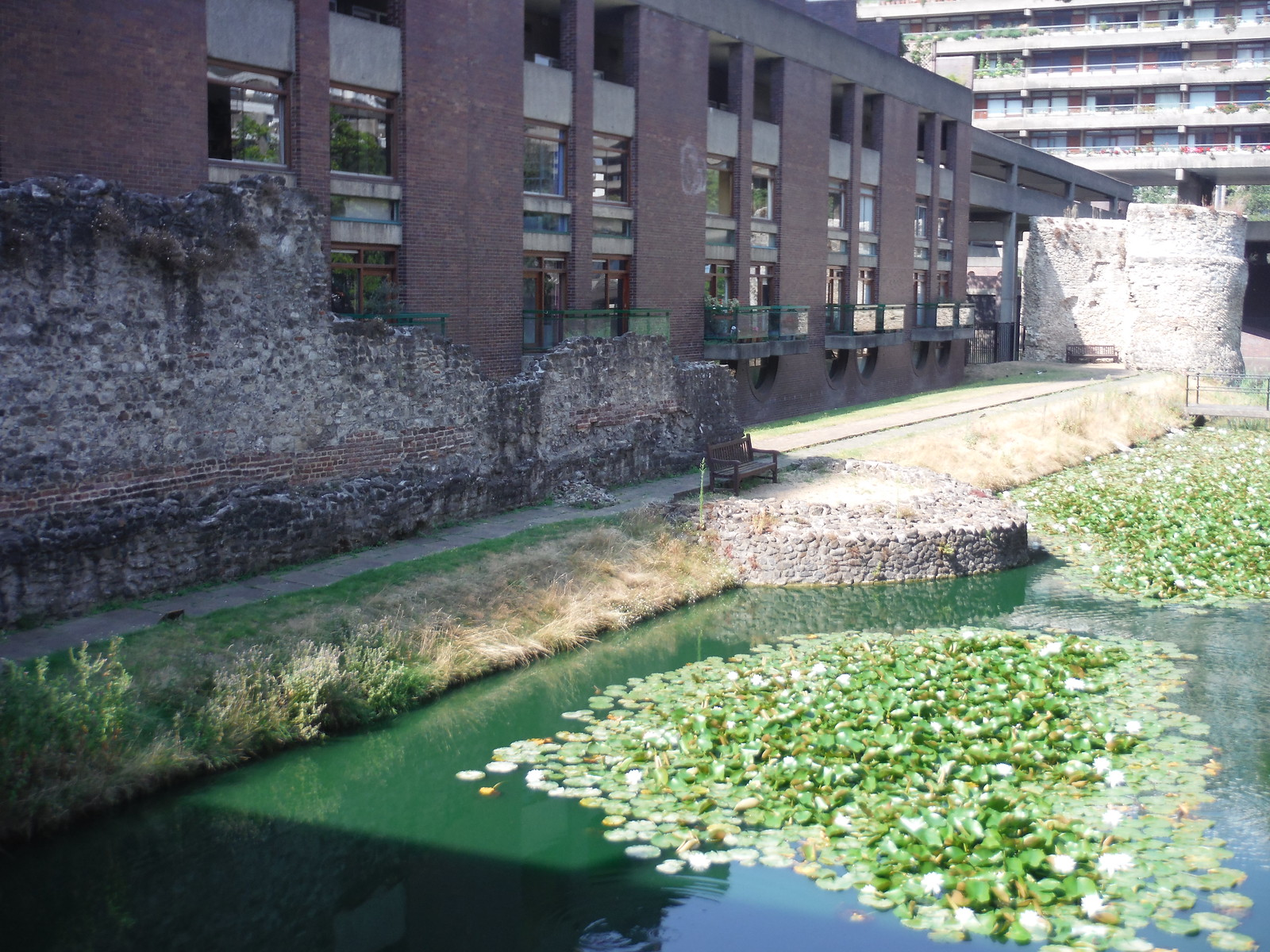 Lake in the Barbican on line of Extramural Ditch, with Bastions 11A and 12 SWC Short Walk 47 - The London Wall
