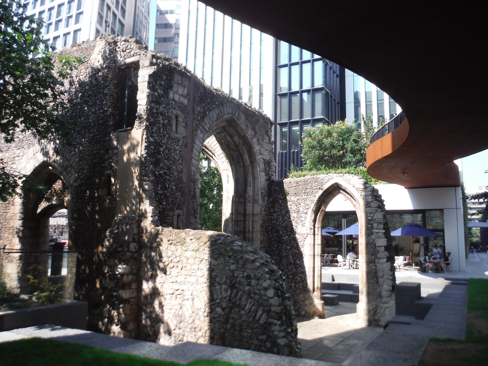 Ruined Tower of St. Elsyng Spital and St. Alphage Highwalk SWC Short Walk 47 - The London Wall