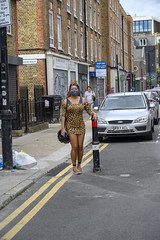 DSC_4519 Petticoat Lane Sunday Street Market London Toynbee Street with Alesha from Jamaica out on the Town Shopping in Leopard Skin Print Mini Dress and COVID-19 Coronavirus Face Mask