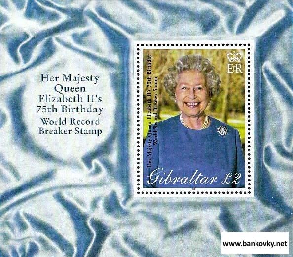 Známky Gibraltar 2001 Kráľovna Alžbeta II. neraz. hárček MNH