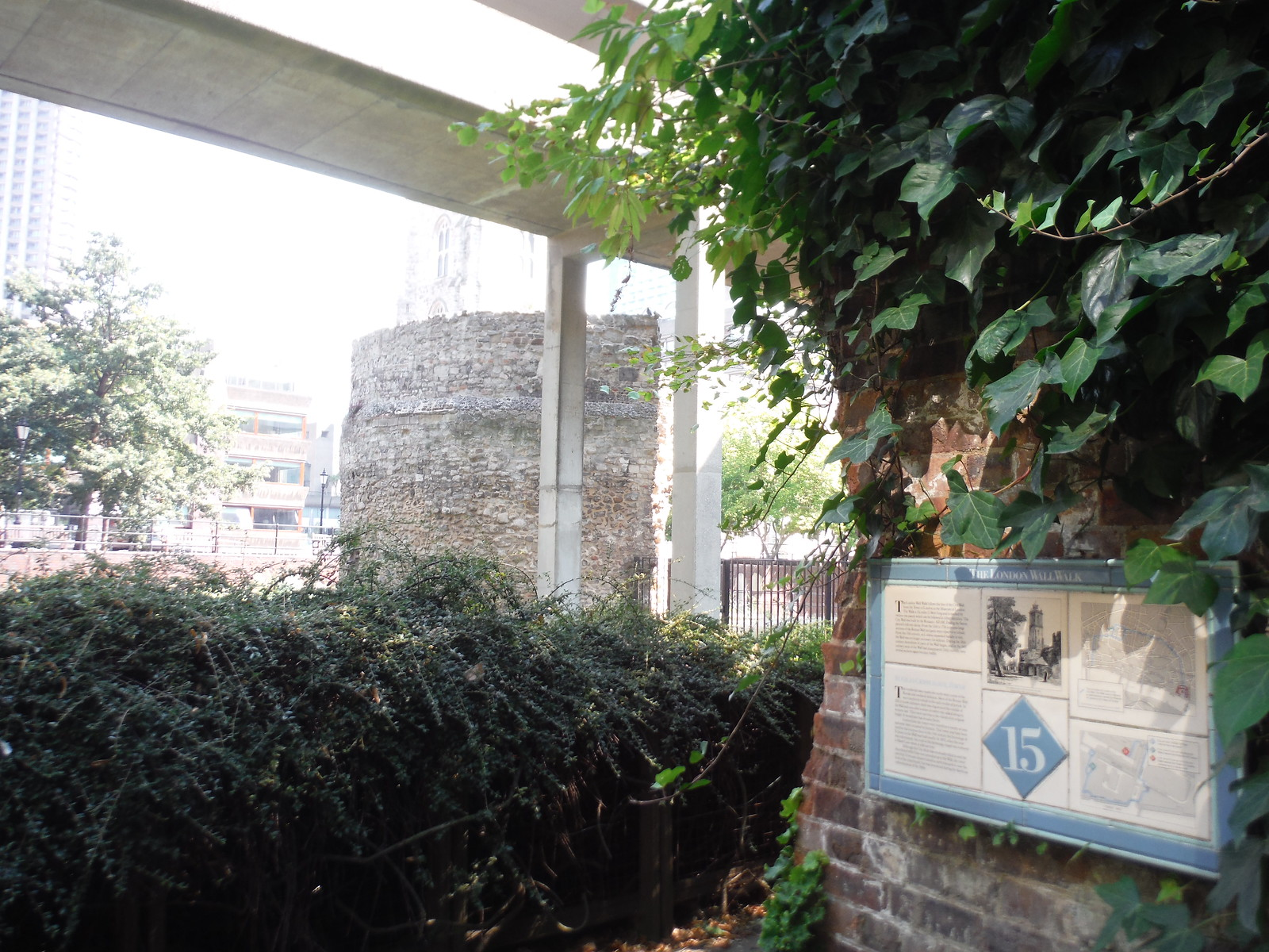 Panel 15 of the London Wall Walk, Bastion 12 in background SWC Short Walk 47 - The London Wall