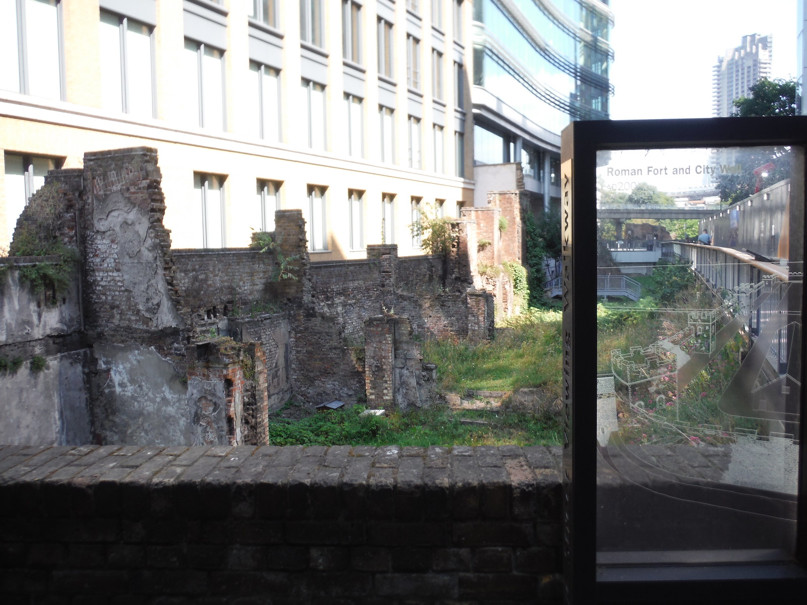 Very large piece of the London Wall, from Noble Street Viewing Walkway SWC Short Walk 47 - The London Wall