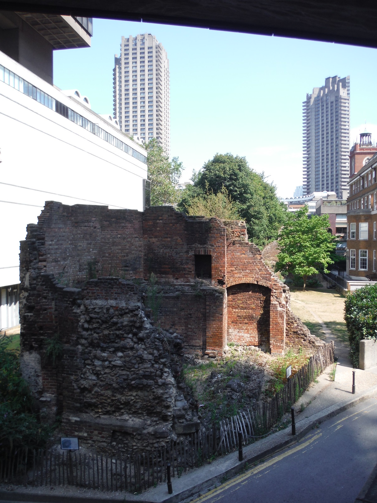 Bastion 14 of the London Wall with the Museum of London and parts of the Barbican Estate SWC Short Walk 47 - The London Wall