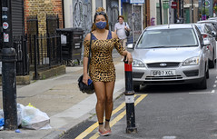DSC_4519a Petticoat Lane Sunday Street Market London Toynbee Street with Alesha from Jamaica out on the Town Shopping in Leopard Skin Print Mini Dress and COVID-19 Coronavirus Face Mask