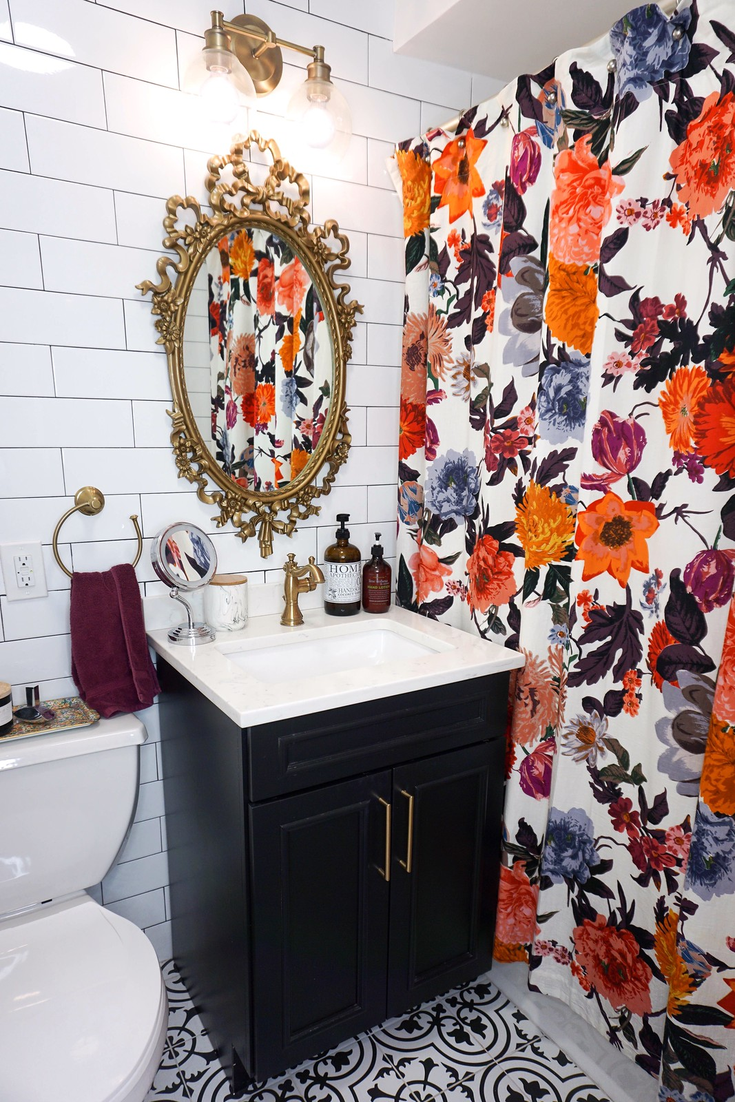 750 square foot New York Apartment After Photos | Colorful Vintage Inspired Tiny Bathroom | Eclectic Modern Decorating Style Home Decor Inspiration