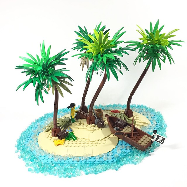 Find the treasure in the island with four palm trees!