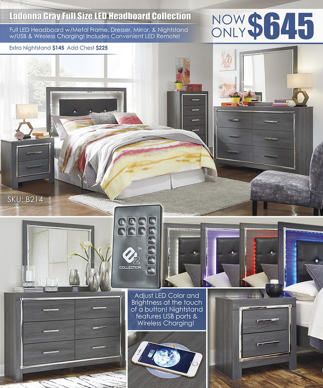 Ladonna Gray Full Headboard LED Bedroom Collection_B214_Layout_Updated