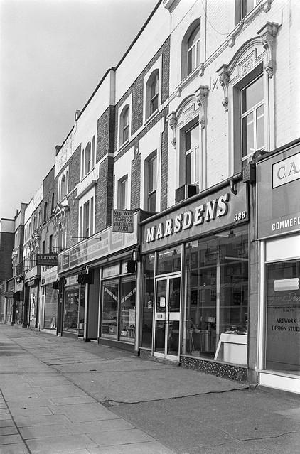 Shops, Harrow Rd, Maida Hill, Westminster, 1988 88-3a-43-positive_2400