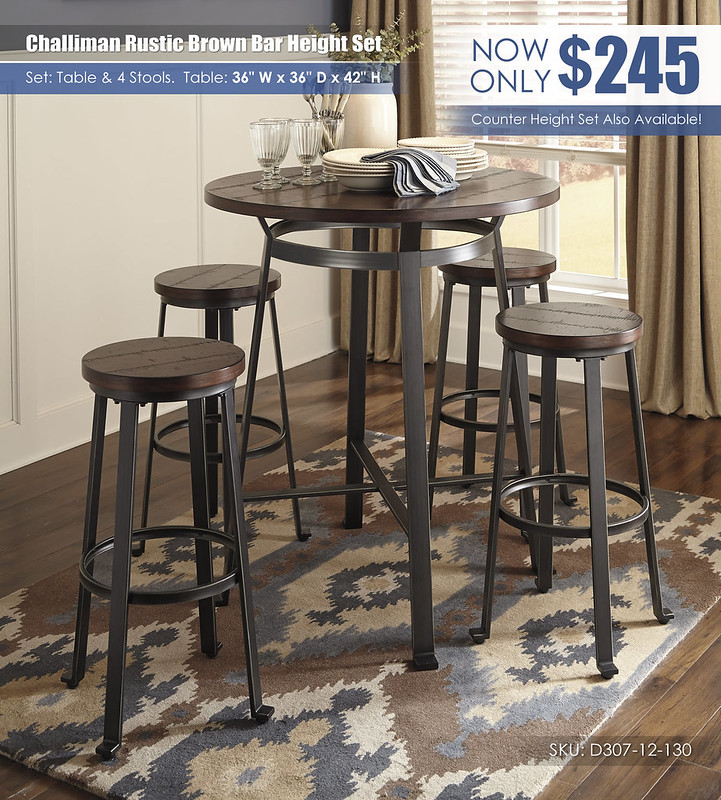 Challiman Rustic Brown Bar Height Table Set_D307-12-130(4)