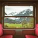 Mountains view from the nostalgic narrow gauge trainPinzgauer Lokalbahn, Austria