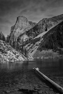 Les eaux limpides du lac Moraine dans les Rocheuses canadiennes