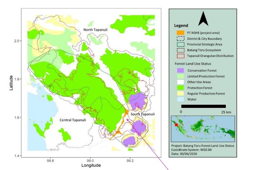 巴丹托魯生態系地圖與水力發電水壩計畫範圍。