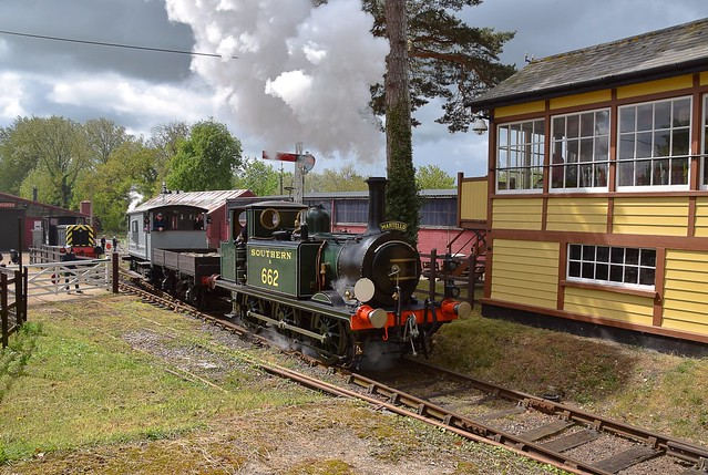 Built in 1875, by the London Brighton & South Coast Railway and in service until 1963, No.B662 'Martello' seen working at Bressingham Steam Gardens. 04 05 2019