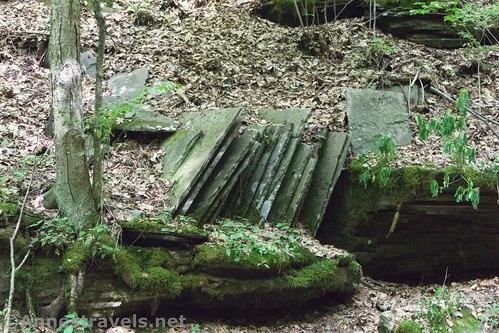 Odd rock formations (it looks like books on a bookcase!) above Wolf Run along the Golden Eagle Trail, Tiadaghton State Forest, Pennsylvania