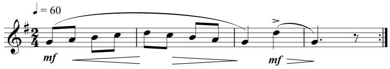 music notation showing simple mental imaging exercise