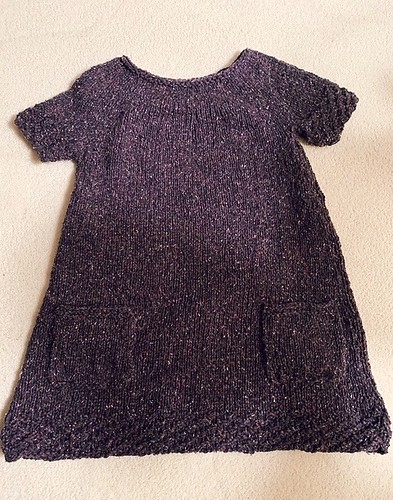 Dianne knit this sweet little dress for her granddaughter in less than two weeks! Pattern is Simo by Cirilia Rose. Yarn is Berroco Remix in Eggplant.