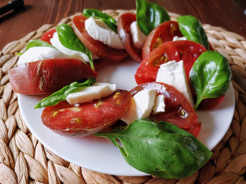 Caprese Salad with Cherokee Purple Tomatoes and Basil from the garden